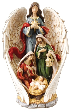 Resin Nativity Holy Family & Angel