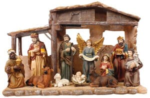 11 Piece Resin Nativity Set Figs With Shed/Light