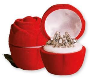 Miniature Nativity Set 5 Figures in Display  Rose Box