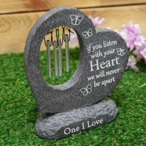 Stone Heart Windchime For Grave
