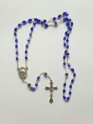 Knock Glass Rosary Beads With Holy Water  – Blue