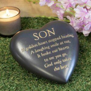 Dark Grey Memorial Heart – Son