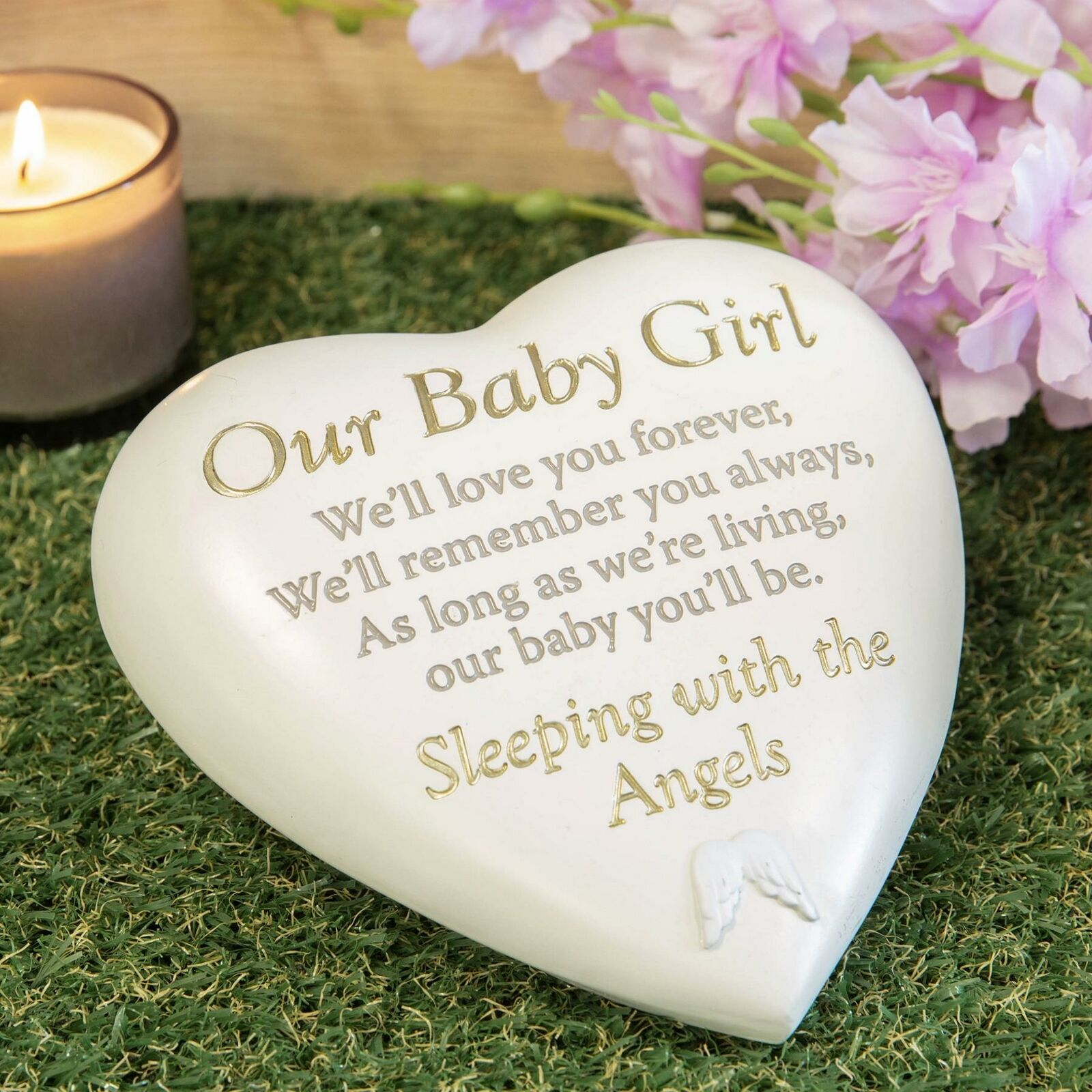 Baby girl heart stone