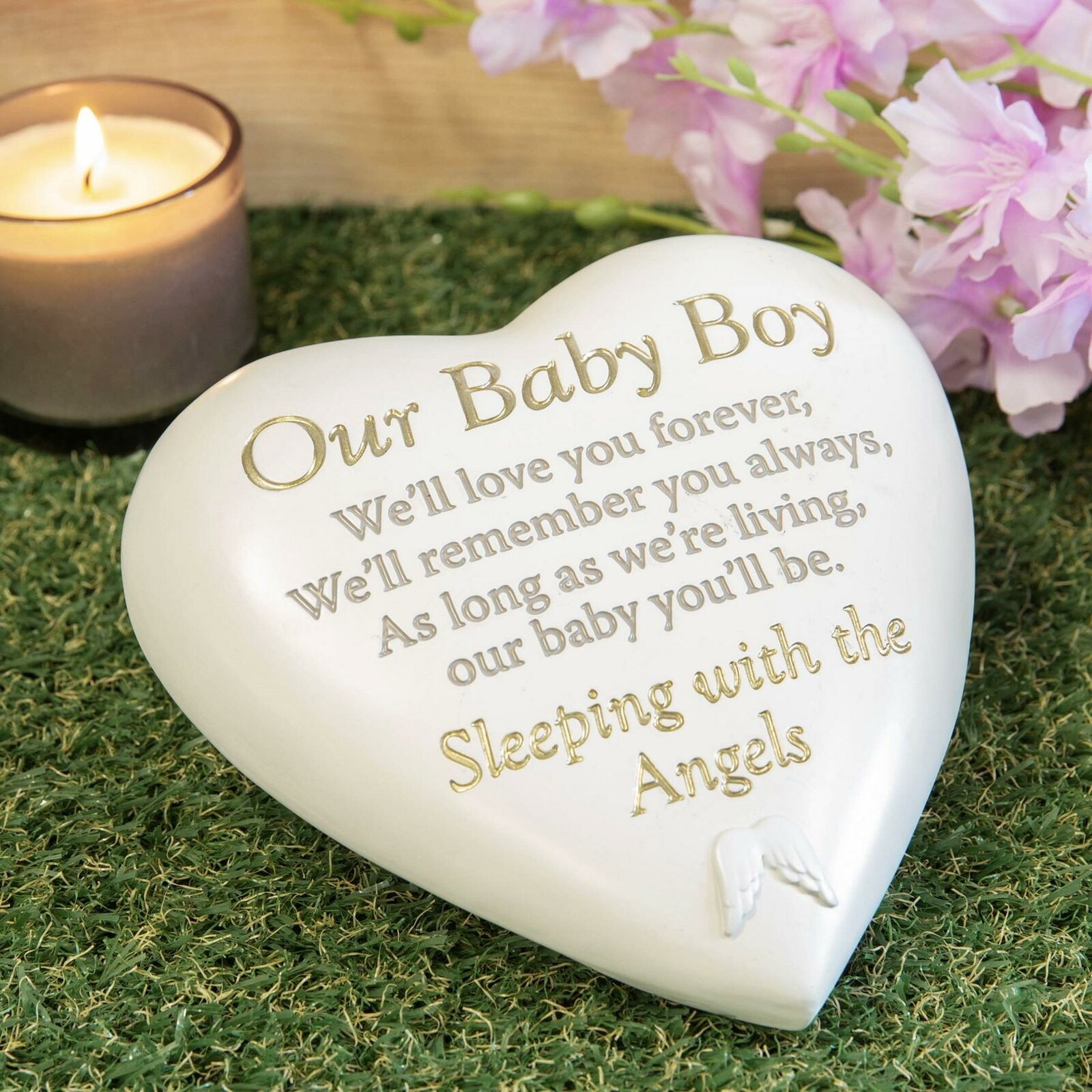 Baby Boy Heart Stone grave