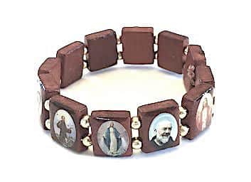 saints wood bracelet