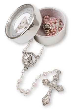 Glass Baby Rosary- Pink-Pearl / Photo Box