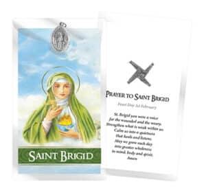 Saint Brigid – Oxidised Medal & Leaflet