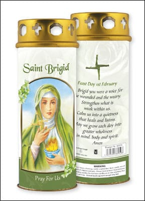 St. Brigid Candle With Windproof Cap