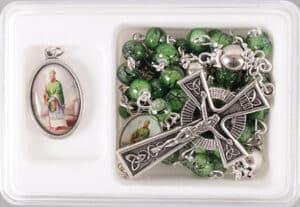 St.Patrick / Glass Rosary/Medal Set