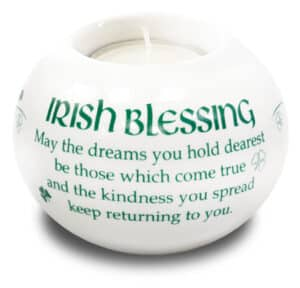 Porcelain Candle Holder/Irish Blessing