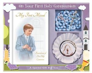 Communion Set Boy – Blue Plastic Beads, Book & Rosette