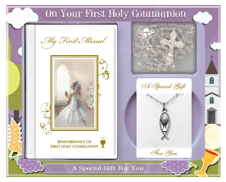 girl communion set with chain