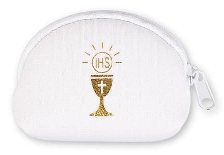 White communion rosary purse