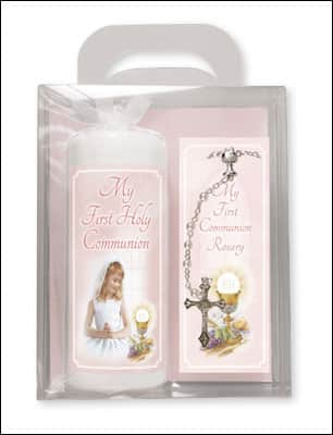 girl communion candle aand beads