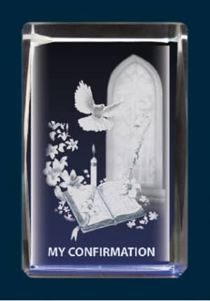 Lazer Engraved Crystal/Confirmation Symbolic