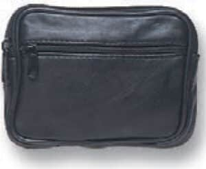 Square Black Purse With Two Zips