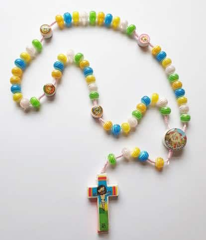Childrens Knock Colourful Beads Pink Rope