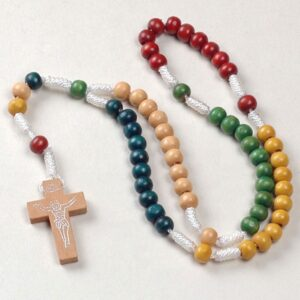 Childrens Colourful Wood Rosary Beads