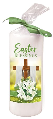 Easter Candle With Green Ribbon