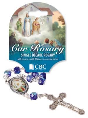 Knock Car Rosary/Single Decade/Glass-Blue