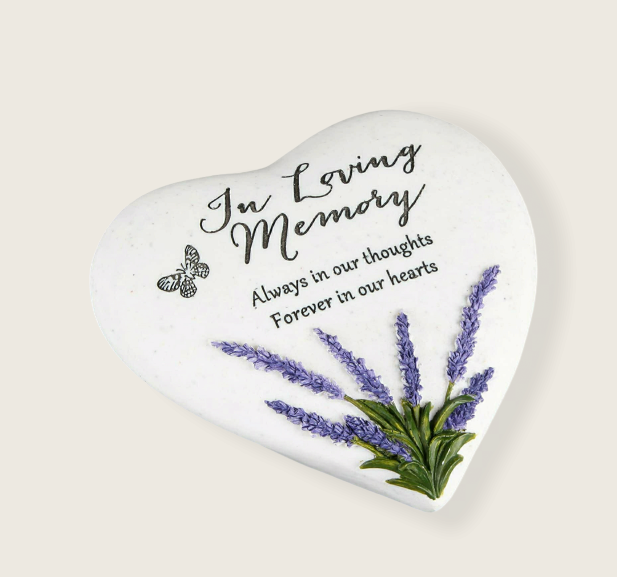 In Loving Memory –  Heart Shape Stone with Lavender design
