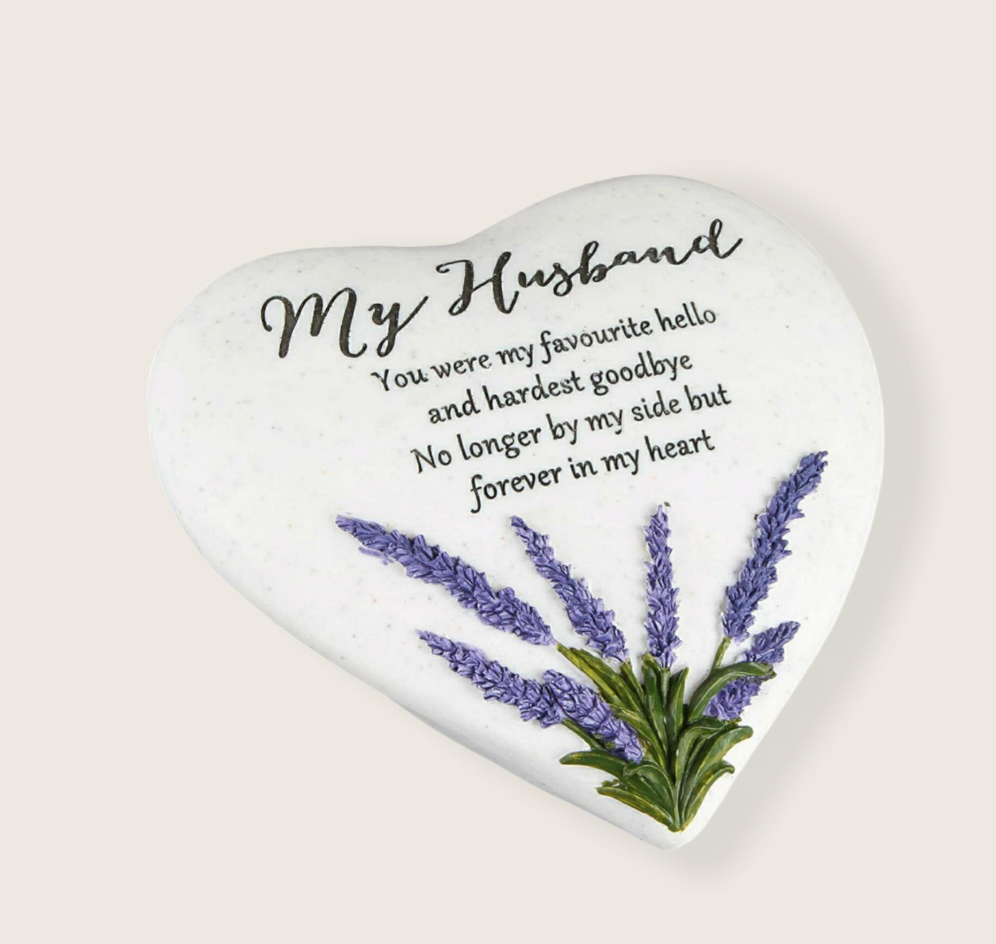 Husband – Heart Shape Outdoor Memorial Plaque with Lavender design