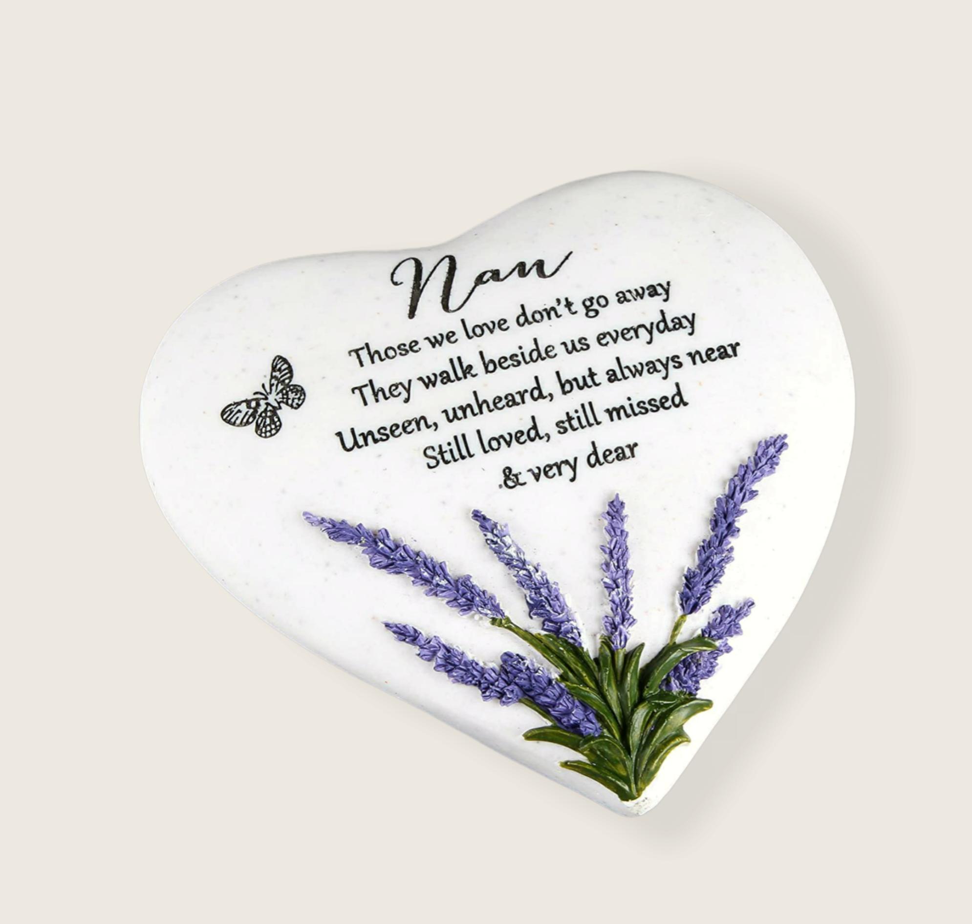 My Nan – Heart Shape Outdoor Memorial Plaque with Lavender design